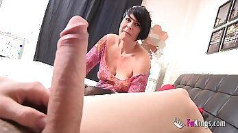 Blonde Mature Wife Squirts on Her Mans Clients Big Cock