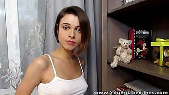 Cum on her big tits WHILE SEXY YOUNG TEEN SUCK BOY MICHAELS
