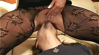 Blaise pantyhose latex show + Oral instructions