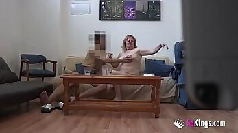 Chubby straight guy fucks her pussy on the table