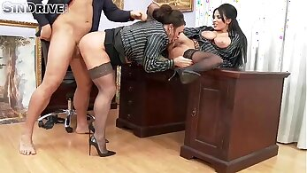 Ardent bimbo with floppy tits is hammered in the office by her boss