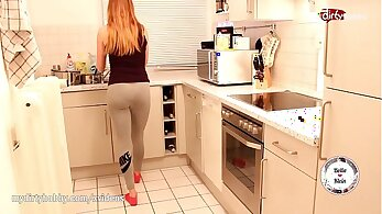 Attractive stunning gal doggystyle in the kitchen