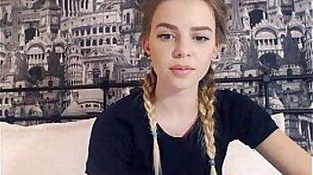 wet Brita teen in front of webcam