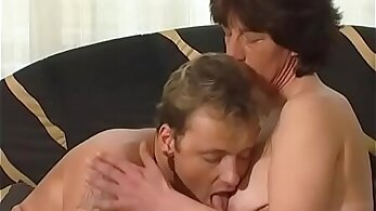 Hairy curvy Granny buttbed by thick dong