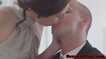 Adrianna shows off her body in pink secretary outfit and gets a hot facial
