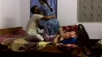 Broke housewife girl caught by husband in bedroom