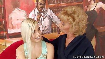 Beautiful lesbian granny gets defled and balls fucked