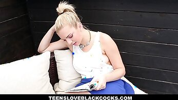 Blonde hussy Summers Pierce fucked hard by a black cock