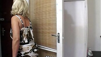Cute blonde mature sucks and lets fly