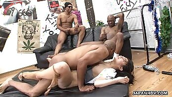 Alt asian slut fights for pussy during threesome