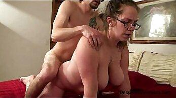 Big tits amateur wife titfucks on casting