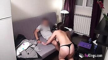Brunette french teacher shows her skills to the student