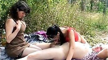 Blond and mature couple have hard threesome fuck