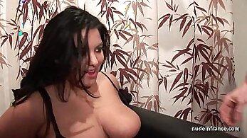 Amanda Bay takes stockings from fat girl and sucks and fucks at casting