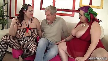 Hot bitches share a cock in their turn